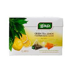 دمنوش چای سبز و لیمو با نبات گپ 12 عددی