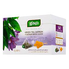 دمنوش چای سبز و زعفران با نبات گپ 12 عددی