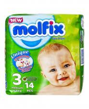 پوشک بچه 3 بعدی متوسط سایز 3 مولفیکس 14 عددی