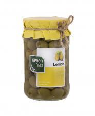 زیتون سبز با مغز لیمو اسپانیایی شیشه گرین فیلد 680 گرمی