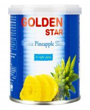 کمپوت آناناس حلقه شده در شربت رقیق 425 گرمی گلدن استار
